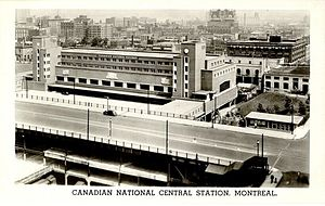 Montreal Central Station - Postcard of Central Station. The postcard is undated, but the slogan on the back promoting the sale of war bonds suggests that the card was printed around the time of the station's opening in 1943.