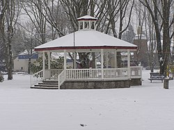 Gazebo in Wait Park on a rare snowy day