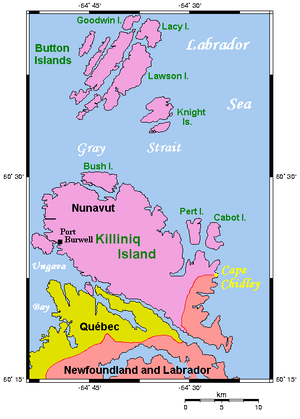 Killiniq Island - Map of Killiniq Island