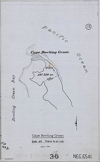 Cape Bowling Green Light - Map showing the position of the lighthouse on Cape Bowling Green, 1927