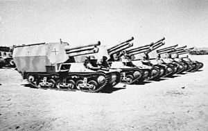 21st Panzer Division (Wehrmacht) - Seven captured German self-propelled 15 cm howitzers from the division, near El Alamein, Egypt