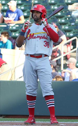 Carlos Peguero - Peguero with the Memphis Redbirds, triple-A affiliate of the St. Louis Cardinals in 2016