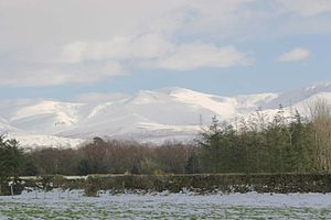 Carneddau - The snow-covered Carneddau with Yr Elen in the centre, Carnedd Llywelyn behind and Carnedd Dafydd to the right