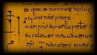 Cartularies of Valpuesta - Fragment in Visigothic script