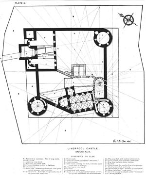 Liverpool Castle - 19th century plan of Liverpool Castle