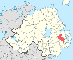 Location of Castlereagh Upper, County Down, Northern Ireland.