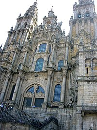 The Obradoiro façade of the grand Cathedral of Santiago de Compostela: an all-but-Gothic composition generated entirely of classical details.