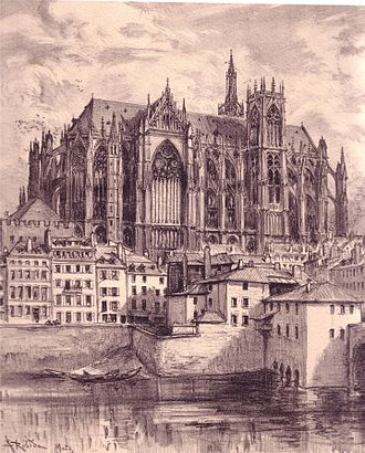 Metz Cathedral - Drawing of Saint-Stephen of Metz in 1905 by Albert Robida.