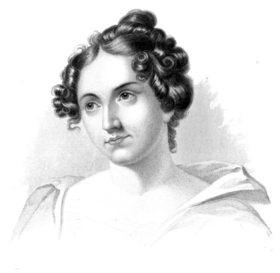 reproduction of an engraved portrait of Catherine Sedgwick