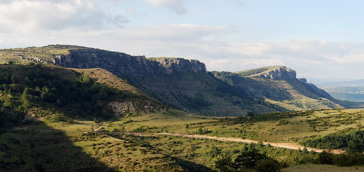 Evening view from Col de Perjuret on the south edge of the Causse Méjean plateau in the Cevennes, France.