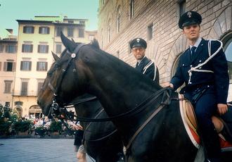 Municipal police (Italy) - Mounted Polizia municipale in Piazza della Signoria in Florence