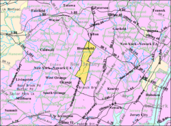 Census Bureau map of Bloomfield, New Jersey
