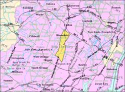 Censoburoo-mapo de Bloomfield, Nov-Ĵerzejo