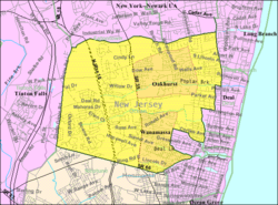 Census Bureau map of Ocean Township, Monmouth County, New Jersey