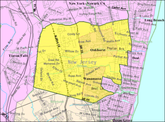 Ocean Township, Monmouth County, New Jersey - Image: Census Bureau map of Ocean Township, Monmouth County, New Jersey