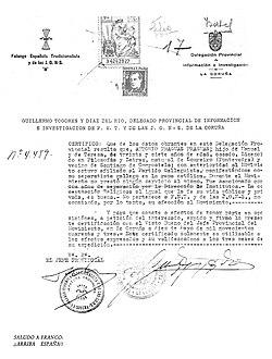 Certifico que Antonio Fraguas Fraguas... a 10 de mayo de 1943