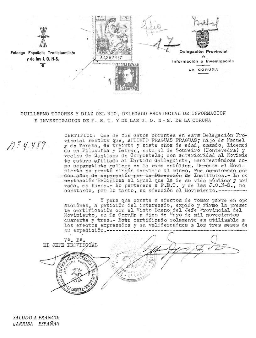 Certificado expedido pola Falanxe, a efectos de tomar parte en oposicións, 1943.