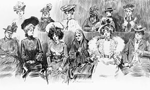 Women in United States juries - The idea of women sitting on juries in the United States was subject to ridicule up until the 20th century. Studies in expression. When women are jurors, Charles Dana Gibson, 1902