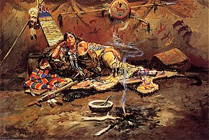 Blackfoot Confederacy - Waiting and Mad, Charles Marion Russell, 1899. Painting of a Blackfoot woman.