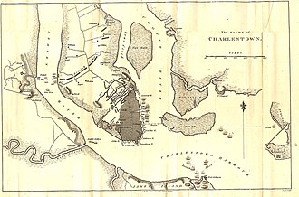 Siege of Charleston - Charleston map showing the distribution of British forces during the siege