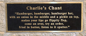 Charlie Nagreen - Plaque showing  Charlie's chant on Hamburger Charlie statue in Seymour, Wisconsin.