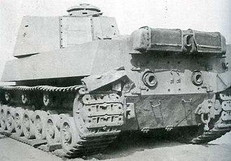Type 5 Chi-Ri medium tank - Side-rear angle view of Type 5 Chi-Ri captured, post-surrender