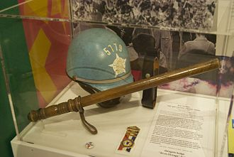 1968 Democratic National Convention - Chicago Police helmet and billy club circa 1968 (photographed 2012)