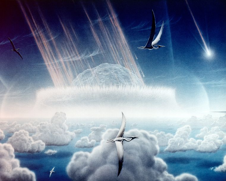 This painting by Donald E. Davis depicts an asteroid slamming into tropical, shallow seas of the sulfur-rich Yucatan Peninsula in what is today southeast Mexico. The aftermath of this immense asteroid collision, which occurred approximately 65 million years ago, is believed to have caused the extinction of the dinosaurs and many other species on Earth. The impact spewed hundreds of billions of tons of sulfur into the atmosphere, producing a worldwide blackout and freezing temperatures which persisted for at least a decade. Shown in this painting are pterodactyls, flying reptiles with wingspans of up to 50 feet, gliding above low tropical clouds.