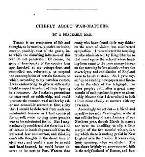Chiefly About War Matters 1862 essay by American author Nathaniel Hawthorne