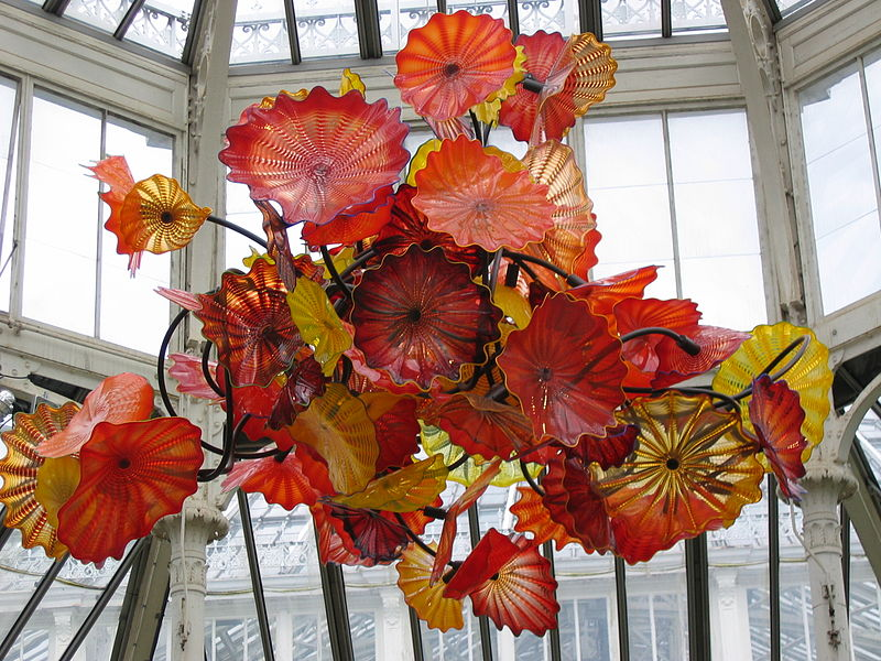 Dale Chihuly glass art at the exhibition of his work in 2005, in Kew Gardens, London, England.