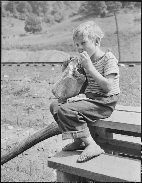 Child of miner eating lunch on schoolhouse grounds. Kentucky Straight Creek Coal Company, Belva Mine, abandoned after... - NARA - 541235