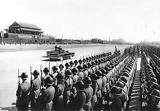 10th anniversary of the People's Republic of China - Defense Minister Lin Biao surveys the troops in Tiananmen Square.