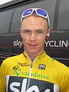Chris Froome with the yellow jersey at the Tour de Romandie 2013