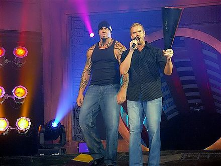 Christian (right) and Tomko (left) were reunited in TNA while in the alliance called Christian's Coalition Christian cage 2.JPG