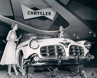 Chrysler - 1955 Imperial car model, in its first year as a separate make, apart from Chrysler, shown on display at January 1955 Chicago Auto Show