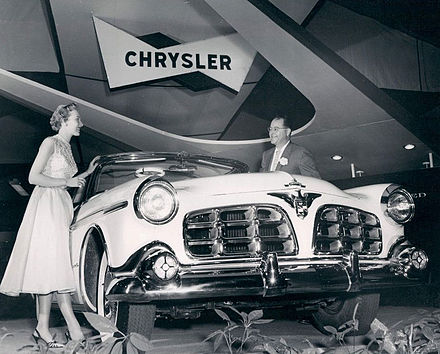 1955 Imperial car model, in its first year as a separate make, apart from Chrysler, shown on display at January 1955 Chicago Auto Show Chrysler Imperial car-1955.JPG