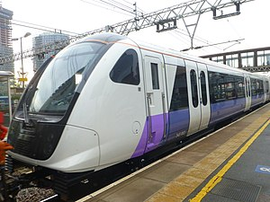 British Rail Class 345 - The first Class 345 (Elizabeth line) train passes by platform 10a at Stratford station London. This journey was taking the brand new train to Ilford depot.