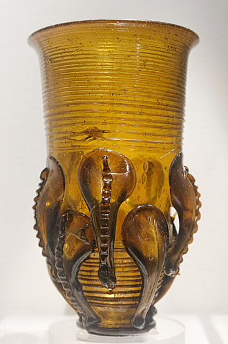Anglo-Saxon glass - Claw beaker from an Anglo-Saxon site.