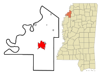 Coahoma County Mississippi Incorporated and Unincorporated areas Clarksdale Highlighted.svg
