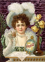 An 1890s advertisement showing model Hilda Clark in formal 19th century attire. The ad is entitled Drink Coca-Cola 5¢.