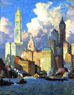 Colin Campbell Cooper - Hudson River Waterfront, N. Y. C., 1913-21