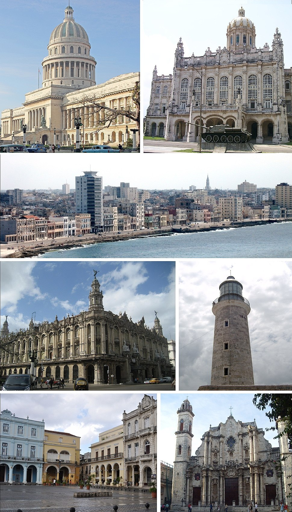 Clockwise from top left: El Capitolio, Museum of the Revolution, view of Malecón, lighthouse at El Morro, Havana Cathedral, Plaza Vieja and the Great Theatre of Havana
