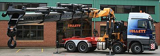 Knuckleboom crane - 8x4 Mercedes 4155 tractor unit complete with 205 Tonne/Meter Effer 2055 crane vehicle arrives at Collett in Halifax, currently the largest of its kind in Europe.