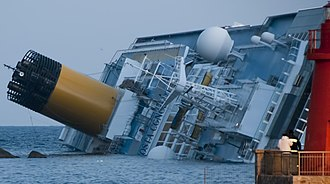 Costa Cruises - Costa Concordia capsized on reef