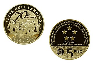 Philippine five peso coin - The Leyte Landing which was a turning point for the liberation of the Philippines during World War II on a five-peso commemorative coin.