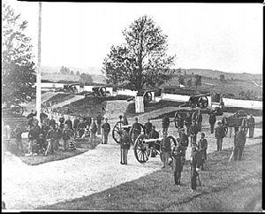 Battle of Fort Stevens - Image: Company F, 3rd Massachusetts Heavy Artillery, in Fort Stevens, Washington DC (ca. 1861)
