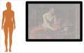 Comparaison indicative de tailles entre une femme moyenne (165 cm) et le tableau (117 × 157 cm, cadre non compris).png