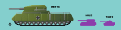 Comparison of Landkreuzer P 1000 Ratte, Maus and Tiger tanks.png