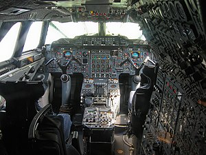 "Yoke (aeronautics) - The cockpit of Concorde, which has an ""M""-shaped yoke mounted on a control column."