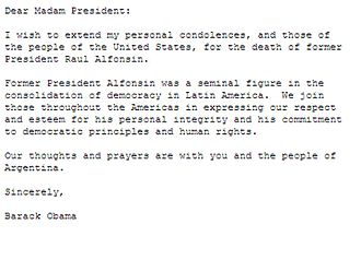 Death and state funeral of Raúl Alfonsín - Message of condolences sent by Barack Obama, president of the United States